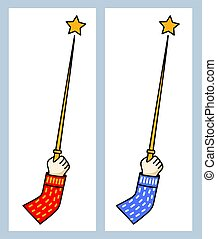 Hand holding a magic wand. Simple symbol.
