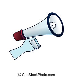 hand holding a megaphone icon, colorful design