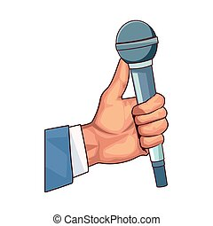 hand holding a microphone icon, colorful design
