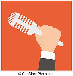 Hand holding a microphone, press conference, vector illustration of a flat icon.