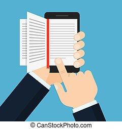 hand holding a mobile phone with an open book on screen
