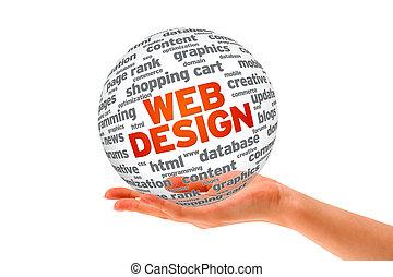 hand holding, a, netz- design, 3d, kugelförmig