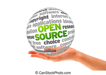Open Source - Hand holding a Open Source Word Sphere on ...