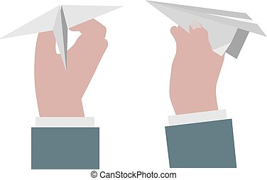 Hand holding a paper airplane.