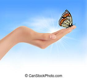 hand holding, a, papillon, gegen, a, blaues, sky., vektor,...
