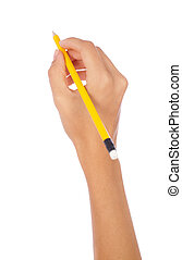 hand holding a pencil on isolated background