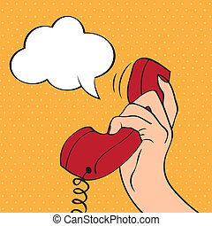 Hand holding a phone, pop art illustration in vector format