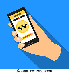 Hand holding a phone to call for order taksi. Programm car taxi online. Taxi station single icon in flat style bitmap symbol stock illustration.