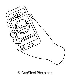 Hand holding a phone to call for order taksi. Programm car taxi online. Taxi station single icon in outline style bitmap symbol stock illustration.