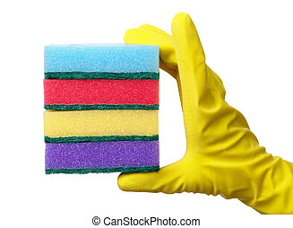 Hand holding a pile of washing sponges