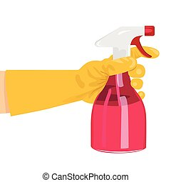 hand holding a pink spray bottle