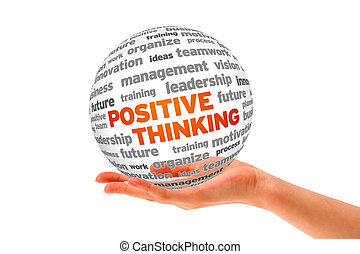 Positive Thinking - Hand holding a Positive Thinking 3d word...