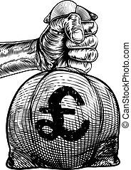 Hand Holding a Pound Sign Burlap Sack Money Bag