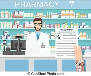 hand holding a prescription rx form. Interior pharmacy or...
