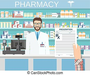 hand holding a prescription rx form. Interior pharmacy or...
