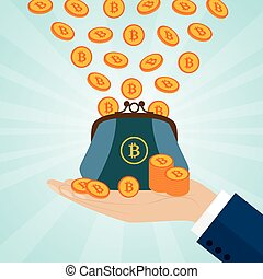 Hand holding a purse with bitcoins