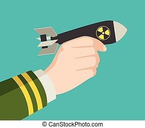 hand holding, a, rakete, nukleare bombe
