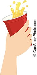 Hand holding a Red Cup of Beer