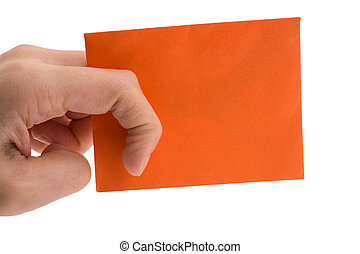 hand holding a red envelope on white background
