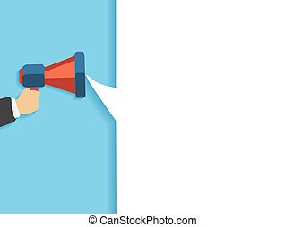 Hand holding a red megaphone with white bubble. Business concept of marketing in flat design. White bubble speech in social communication concept