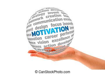 Motivation - Hand holding a roung 3d Motivation Sphere.