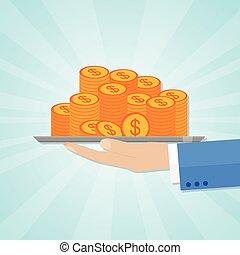 hand holding, a, salver, mit, geldmünzen