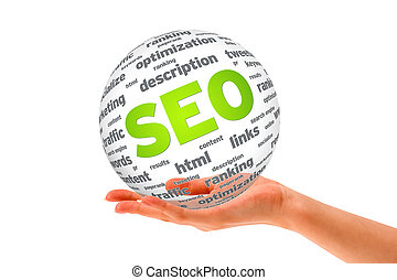 Hand holding a SEO 3D Sphere sign on white background.