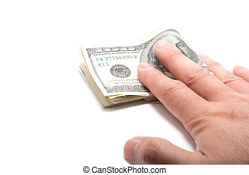 Hand holding a series of banknotes with 100 dollars on top