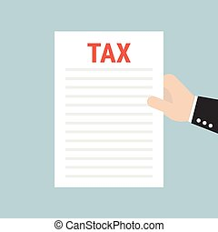 Hand holding a sheet of paper with Tax headline