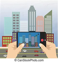 Hand holding a smartphone and makes photo cityscape, flat...