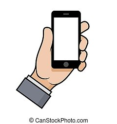 Hand Holding a Smartphone on White Background. Vector