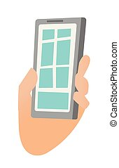 Hand holding a smartphone vector illustration.