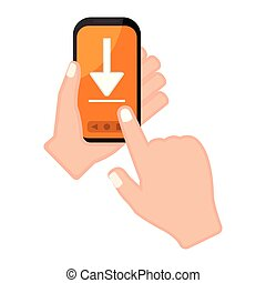 Hand holding a smartphone with an arrow icon