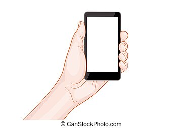 hand holding a smartphone with blank screen vector...