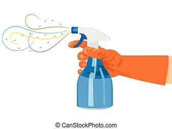 hand holding a spray bottle - hand holding a blue spray...