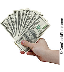 Hand holding a stack of cash