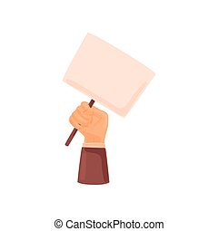 Hand holding a stick with a poster. Vector illustration on white background.