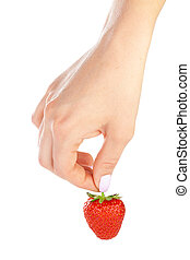hand holding a strawberry isolated on white background