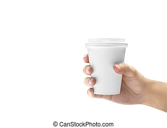 Hand holding a styrofoam cup with coffee