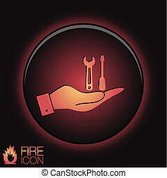 hand holding a symbol settings sign, screwdriver and wrench