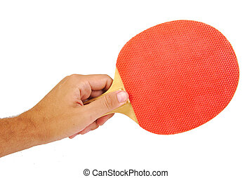 Hand holding a tennis racket isolated on white background