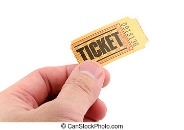 hand holding a ticket with white background