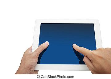 hand holding a touchpad pc, isolated on white
