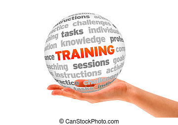 Training - Hand holding a Training Word Sphere on white...