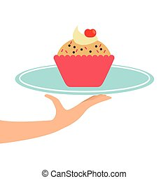 hand holding a tray of cupcakes