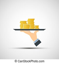 Hand holding a tray with money.