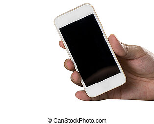 Hand holding a white smartphone isolated on white