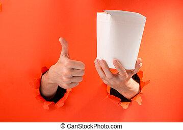 Hand holding a wok box