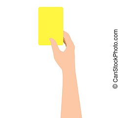 Hand Holding A Yellow Card Isolated On White Background