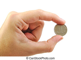 Hand holding a yuan coin isolated on white background.